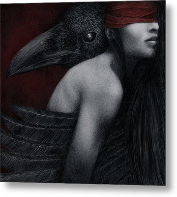 Metal Print featuring the painting Corvidae by Pat Erickson