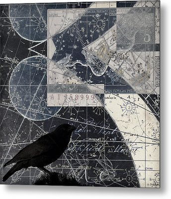 Corvus Star Chart Metal Print by Carol Leigh