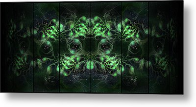 Cosmic Alien Eyes Green Metal Print by Shawn Dall