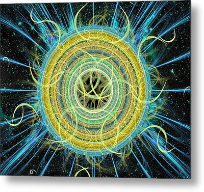 Metal Print featuring the digital art Cosmic Circle Fusion by Shawn Dall