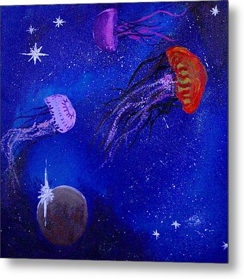 Cosmic Jellyfish  Metal Print by Andy Lawless