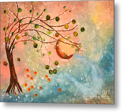 Cosmic Orb Tree Metal Print by Denise Tomasura
