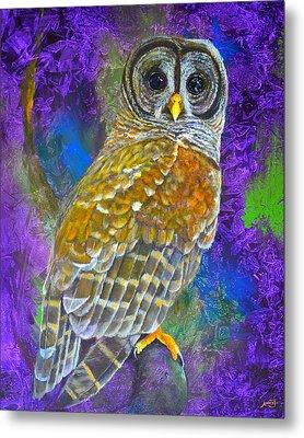 Cosmic Owl Metal Print by AnnaJo Vahle