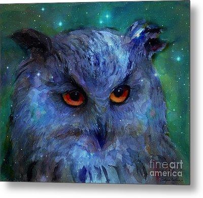 Cosmic Owl Painting Metal Print
