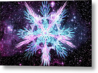 Metal Print featuring the digital art Cosmic Starflower by Shawn Dall