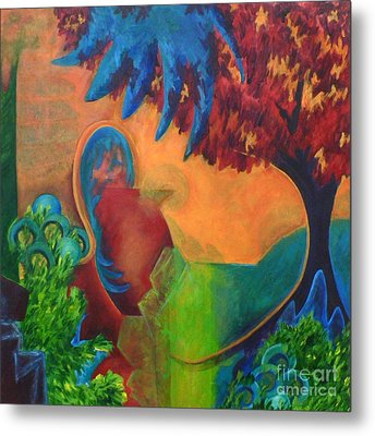 Metal Print featuring the painting Costa Mango by Elizabeth Fontaine-Barr