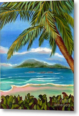 Metal Print featuring the painting Costa Rica Highs   Costa Rica Seascape Mountains And Palm Trees by Shelia Kempf