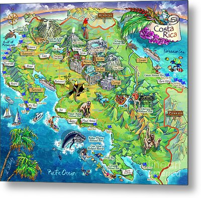 Costa Rica Map Illustration Metal Print