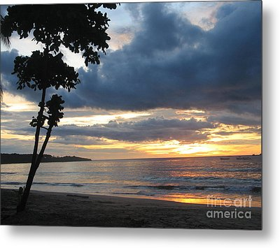 Metal Print featuring the photograph Costa Rica Palm Sunset - Seascape by Shelia Kempf