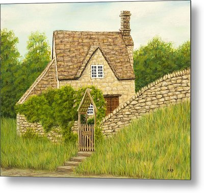 Cotswold Cottage Metal Print by Rebecca Prough