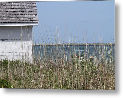 Cottage At Cape Lookout And Boat Metal Print