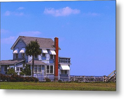 Metal Print featuring the photograph Cottage Blue by Laura Ragland