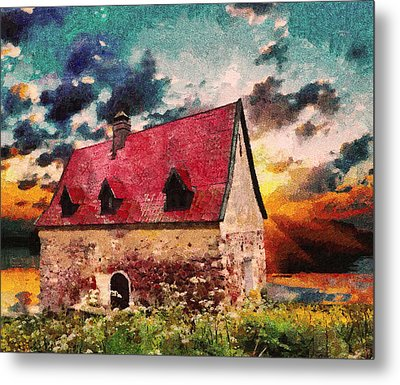 Cottage By The Sea - Abstract Realism Metal Print