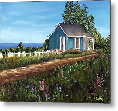 Cottage By The Sea Metal Print by Helen Eaton