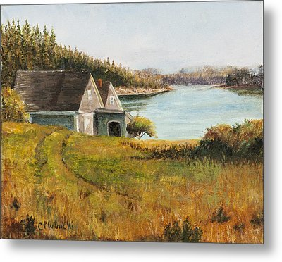 Metal Print featuring the painting Cottage Glow by Cindy Plutnicki