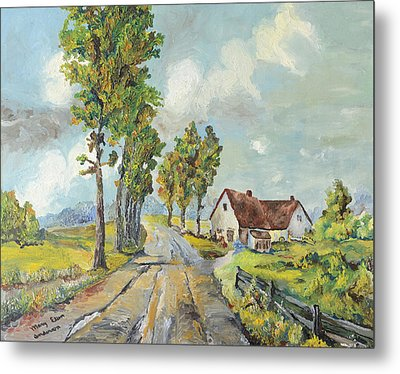 Metal Print featuring the painting Cottage On Poplar Lane by Mary Ellen Anderson