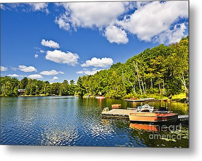 Cottages On Lake With Docks Metal Print by Elena Elisseeva