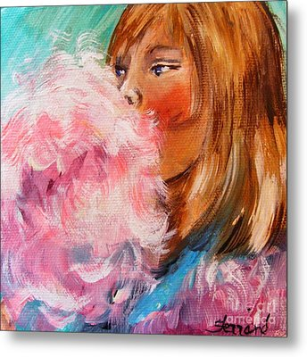 Metal Print featuring the painting Cotton Candy by Karen  Ferrand Carroll