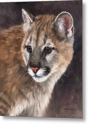 Cougar Cub Painting Metal Print by Rachel Stribbling