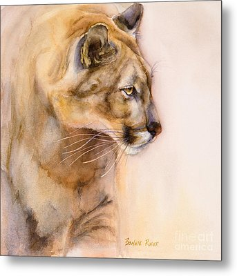 Metal Print featuring the painting Cougar On The Prowl by Bonnie Rinier