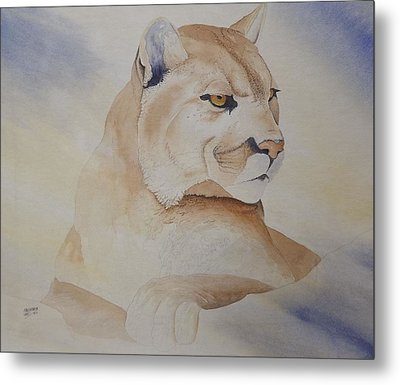 Metal Print featuring the painting Cougar On Watch by Richard Faulkner