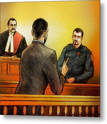 Metal Print featuring the painting Counsel Harval Bassi Questions A Witness by Alex Tavshunsky