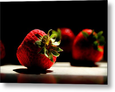 Countertop Strawberries Metal Print