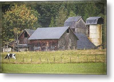 Metal Print featuring the painting Country Art - Rustic Old Barns With Cow In The Pasture by Jordan Blackstone
