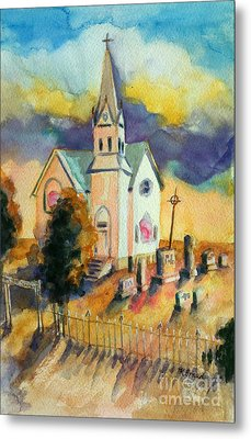 Metal Print featuring the painting Country Church At Sunset by Kathy Braud