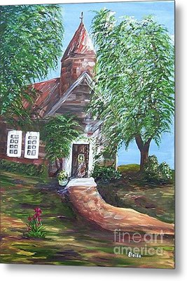 Metal Print featuring the painting Country Church by Eloise Schneider