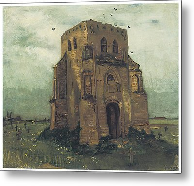 Country Churchyard And Old Church Tower Metal Print by Vincent Van Gogh