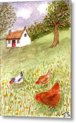 Country Cottage Metal Print by Tis Art