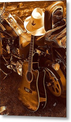 Metal Print featuring the photograph Country Harleys by Karen Kersey