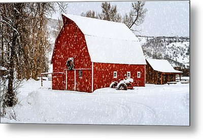 Country Holiday Barn Metal Print by Teri Virbickis