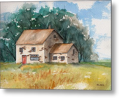 Metal Print featuring the painting Country Home With The Red Door by Rebecca Davis