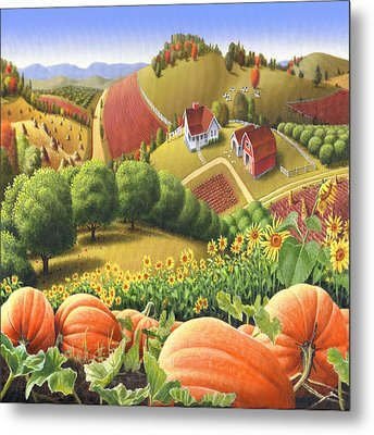 Country Landscape - Appalachian Pumpkin Patch - Country Farm Life - Square Format Metal Print by Walt Curlee