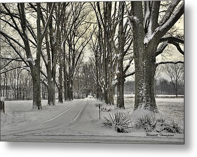 Country Lane In Winter Metal Print by Wendell Thompson