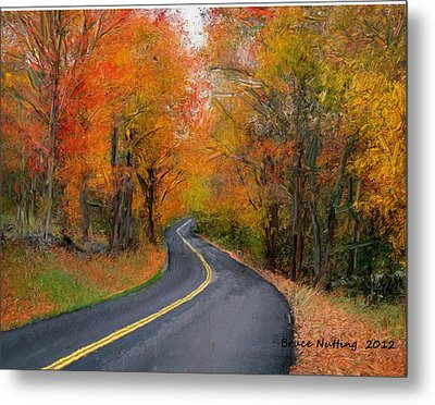 Metal Print featuring the painting Country Road In Autumn by Bruce Nutting