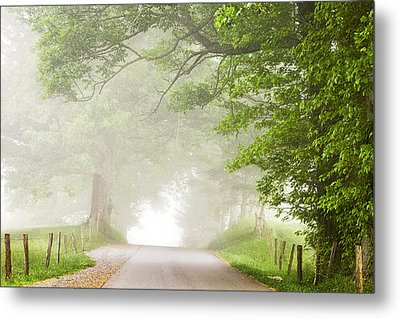 Country Road In The Fog Metal Print by Andrew Soundarajan