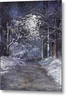 Country Road On A Wintery Night Metal Print by Jack Skinner