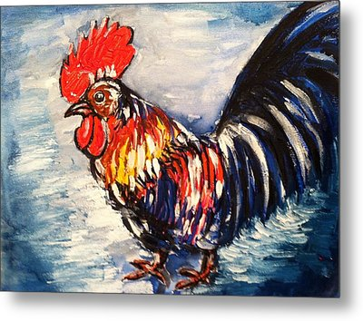 Country Rooster Metal Print by Hae Kim