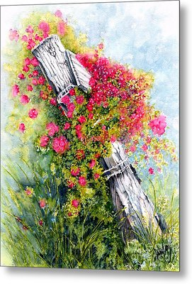Country Rose Metal Print by Janine Riley