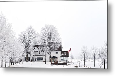 Country Side House In Canada Winter Time Metal Print by Marek Poplawski