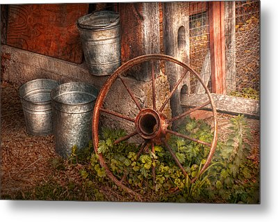 Country - Some Dented Pails And An Old Wheel  Metal Print by Mike Savad