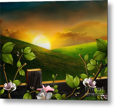 Countryside Sunset Metal Print by Peter Awax