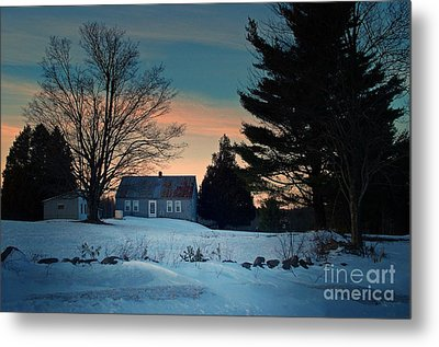 Countryside Winter Evening Metal Print