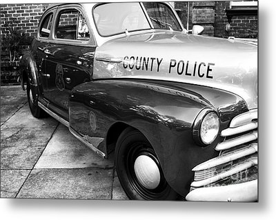 County Police In Black And White Metal Print by John Rizzuto