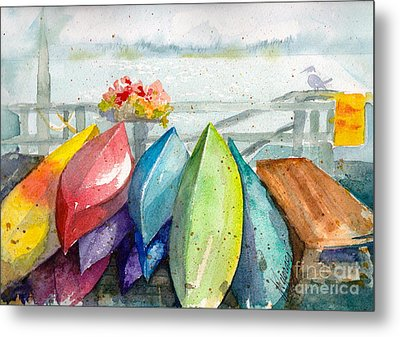 Coupeville Canoes Metal Print by Judi Nyerges