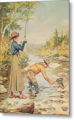 Couple Fishing On A River Metal Print by Anonymous