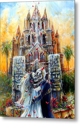 Metal Print featuring the painting Couple In Love by Heather Calderon